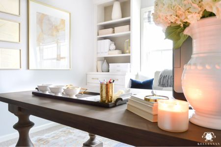 Evening glow from my home office. Home decor office decor brass tray office storage built in table desk  #LTKhome #LTKstyletip