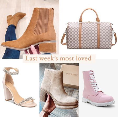 Last week's most loved in shoes and accessories: - my express tan booties that are perfect for fall under $100 - designer inspired duffel bag under $100! Great savings for an expensive look and an awesome gift idea as well - heeled evening sandals with some sparkle - my Steve Madden heeled suede boots - pink and white combat boots   #LTKSeasonal #LTKshoecrush #LTKunder100