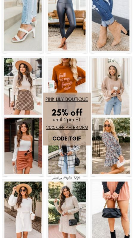 25% off sitewide at Pink Lily Boutique! Shop your fall favorites at a discount. 20% off after 2pm ET. Square toe heels, leather leggings, plaid shacket, sweater dress, fall fashion, fall outfit.  #LTKGiftGuide #LTKsalealert #LTKunder50