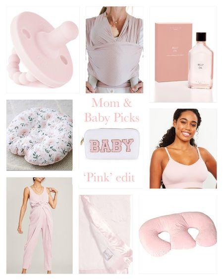 Mom and baby picks pink edition, jumpsuit, paci, pink jumpsuit, maternity, nursing bra, belly oil, baby carrier,  Stoney clover, boppy pillow   #LTKbaby #LTKbeauty #LTKbump