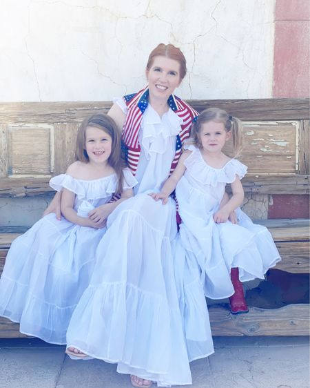 The girls love to match with me! Linking similar dresses as mine is sold out, exact dresses for the girls, my flag sweater and Bizzy's red cowboy boots. #liketkit @liketoknow.it http://liketk.it/3gFSb   #LTKkids #LTKshoecrush