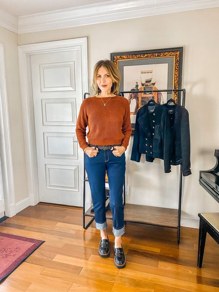 Sharing my favorite boyfriend jeans from @mottandbow. They look so cute cuffed with a pair of loafers.   Mott and Bow denim, boyfriend jeans, black lugged sole loafers, fall outfit, denim style  #LTKstyletip #LTKshoecrush #LTKunder100