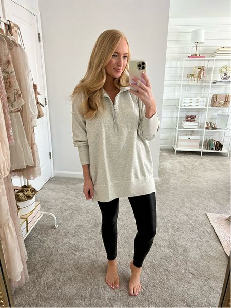 Comfy oversized nursing friendly sweatshirt with spanx faux leather leggings. I sized up to a L in the top but it's already oversized so only size up if you want it extra cozy
