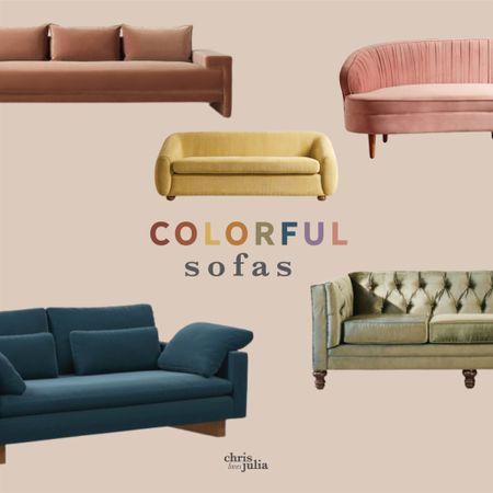 Colorful Sofas, Velvet, Couch, Furniture http://liketk.it/3iT7V #liketkit @liketoknow.it