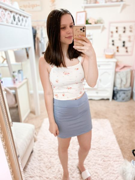 Casual summer outfit inspo! Love this athletic style skirt w/ built in biker style shorts! Comes in a bunch of colors too - everything fits tts👍💓  #LTKunder50 #LTKstyletip #LTKunder100