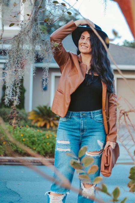Fall outfit vibes!  Jacket Jeans Bodysuit  Purse Hat   #LTKSeasonal #LTKGiftGuide #LTKSale