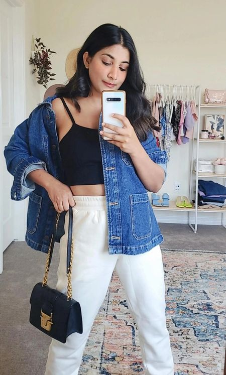 I got this $45 jacket for only $7 from clearance section of old navy. Unfortunately, it is not priced same online but it is still on sale and priced at $29. I am petite and I am wearing size small to have a little room and oversized look. You can shop it here. #Denim ##jacket #fabletics  #LTKSeasonal #LTKunder50 #LTKsalealert