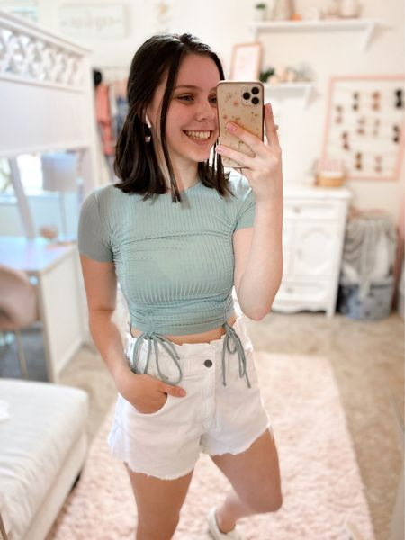 Casual outfit idea for summer! (All true to size but top isn't very stretchy so go up if in-between)💓 #summeroutfits #shorts #targetstyle #walmartfinds #forever21 #summerfashion   #LTKshoecrush #LTKstyletip #LTKunder50