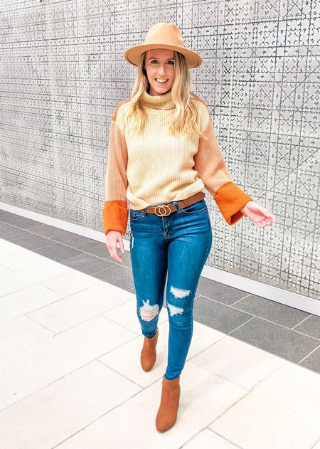 This might be my favorite fall sweater yet 😍 The color block details are so fun, and it pairs well with fall booties (my fav)! 👢 Oh and it's under $25! I would wear this outfit to a pumpkin patch, an outdoor lunch or dinner, or exploring a city.   #LTKSeasonal #LTKunder50 #LTKstyletip