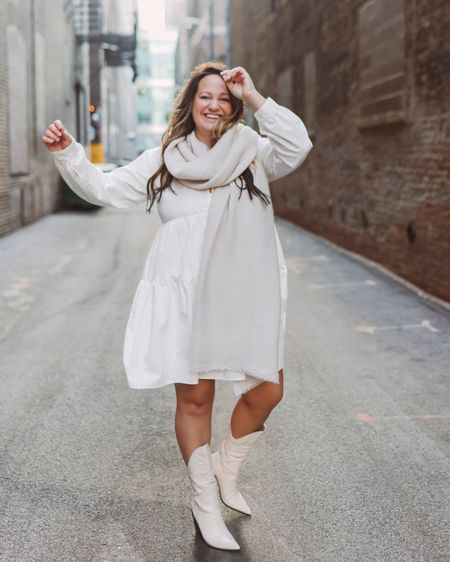 White dress // neutral outfit // cowboy boots // western boots // monochromatic outfit // babydoll dress // collared dress // scarf outfit   @liketoknow.it #liketkit http://liketk.it/380Fs #LTKworkwear #LTKunder50 #LTKstyletip