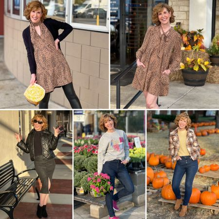 Fall outfits, fall outfit ideas, date night outfits, leopard print dress, animal print dress, faux leather jacket, plaid jacket, moto jacket, oversized sweatshirt  I'm sharing 5 outfit ideas for your fall date nights! (Yes, these are dates we've actually gone on, and the outfits I've actually worn!) And guess what? They're ALL from @nordstrom and they all feature #Nordstrom Made Brands! (Think Halogen, BP, Treasure & Bond!) Click through to emptynestblessed.com for more!  #LTKSeasonal #LTKstyletip #LTKworkwear
