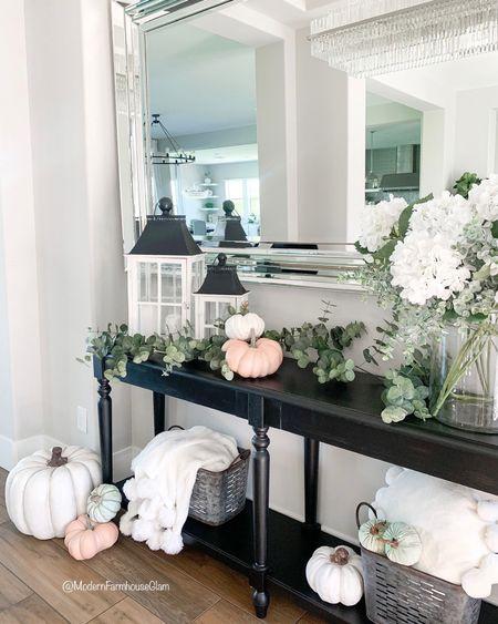 Fall entryway table and home decor at ModernFarmhouseGlam   #LTKSeasonal #LTKHoliday #LTKhome