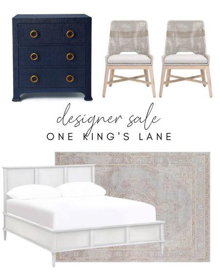 Designer looks, bedroom, OKL, one kings lane, coastal, home decor, dining chairs, rug, beach house, bed, bedroom, cottage, grasscloth    #LTKstyletip #LTKsalealert #LTKhome
