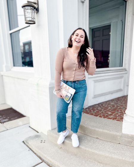 Spring Outfit: Target style straight jeans Cropped rib sweater White Nike sneakers with leopard print accents http://liketk.it/3bbXx @liketoknow.it #liketkit #LTKshoecrush #LTKunder50 #LTKstyletip