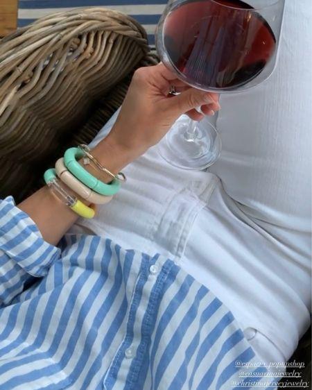Blue and white shirt, high rise white jeans, favorite red wine glasses @liketoknow.it #liketkit http://liketk.it/3eO6s #LTKsalealert