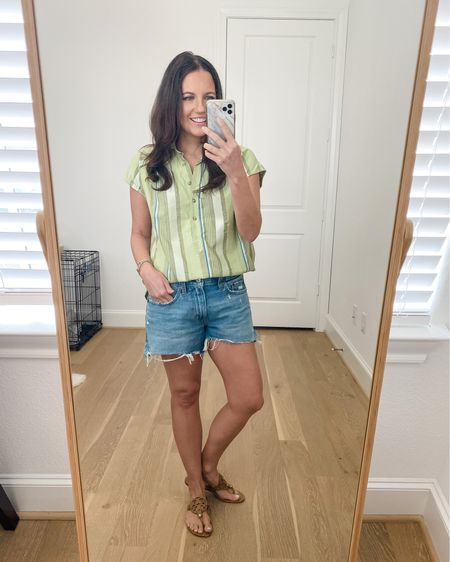 Summer outfits / vacation outfit / green striped top / shirt sleeve shirt / cutoff jean shorts / Abercrombie jeans / tan sandals    #LTKunder50 #LTKunder100 #LTKshoecrush
