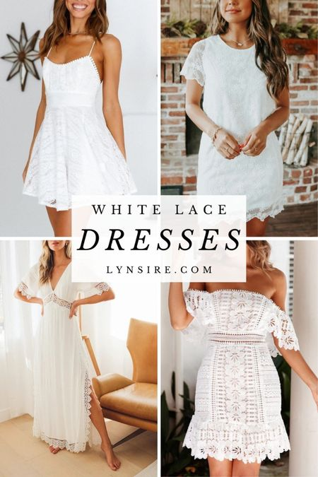 White lace dress ideas for a wedding, to travel or for Insta photos.  #LTKunder100 #LTKtravel #LTKwedding