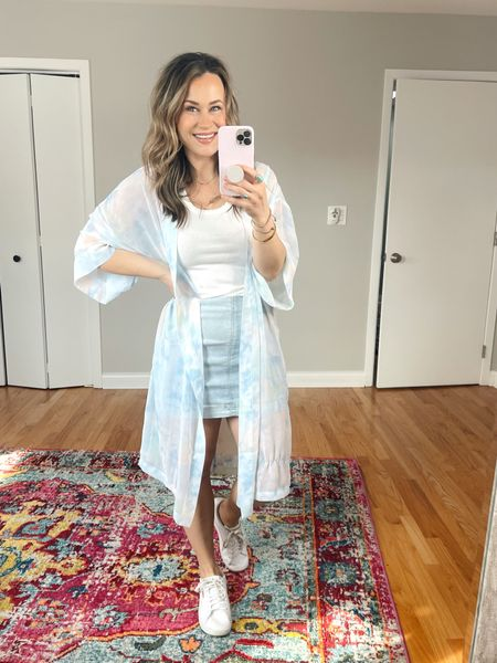 Target finds: this entire outfit is target style finds! My white tank top, denim skirt and oversized kimono! Wearing a 6 in the jean skirt, medium in the white top and the kimono is one size fits all. This is the perfect spring outfit, also linked my white sneakers and gold hoops, they are an amazon find.   #LTKsalealert #LTKstyletip #LTKunder50
