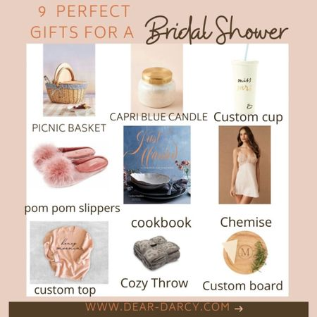 9 Gifts she'll love… Bridal shower gift giving!  Perfect bridal shower gifts starting from $19 and up! Personal and thoughtful! . .  Shop my daily looks by following me on the LIKEtoKNOW.it shopping app You can instantly shop my looks by following me on the LIKEtoKNOW.it shopping app http://liketk.it/3h01h #liketkit @liketoknow.it #LTKwedding #LTKhome #LTKstyletip