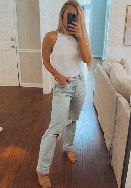 Amazon bodysuit size small Dad jeans TTS   #LTKworkwear #LTKunder50
