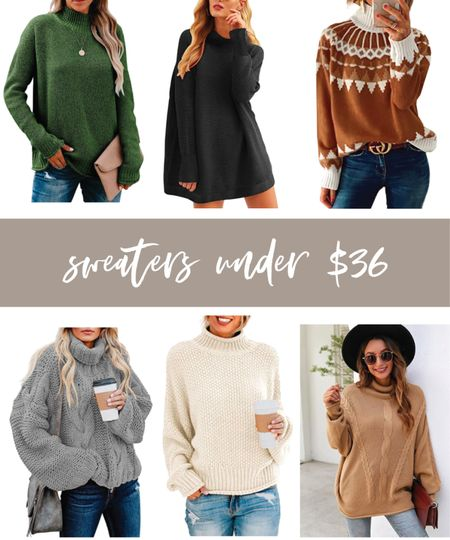 Amazon sweaters under $36! Love the chunky cable knit & green one SO much!  #LTKunder100 #LTKunder50 #LTKSeasonal