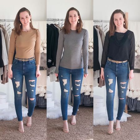 Happy Friday 🥳 I call these my tornado jeans because one of the distressed patches looks like one 🌪. I love that they're high waisted, much needed with all the eating I've been doing lately 😂 Which look is your favorite? We're starting another DIY project tonight and I can't waaaiittt 😍 I'll share the process on stories!! http://liketk.it/2NySH #liketkit @liketoknow.it
