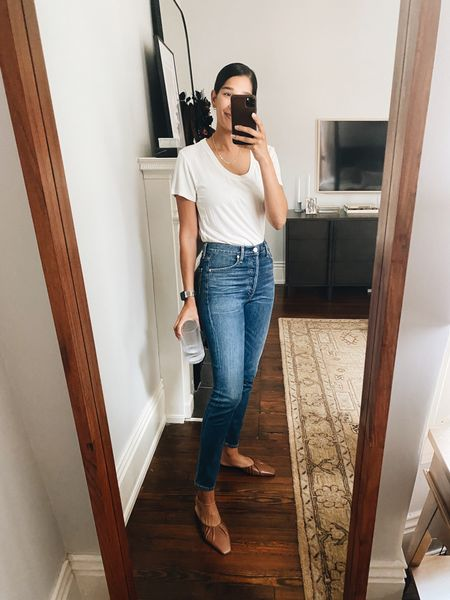 Best white tee that works for the office! Runs TTS but would size down if in between    #LTKstyletip #LTKunder50