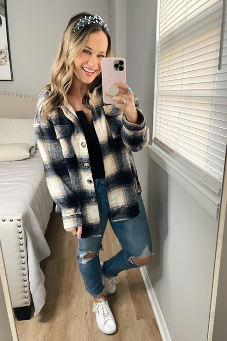 Amazon fashion finds: my whole outfit is amazon finds, would be a perfect weekend outfit! Linked my high rise jeans, black shirt, plaid shacket, headband, gold hoops and white sneakers! http://liketk.it/373NZ #liketkit @liketoknow.it #LTKstyletip #LTKshoecrush #LTKunder50