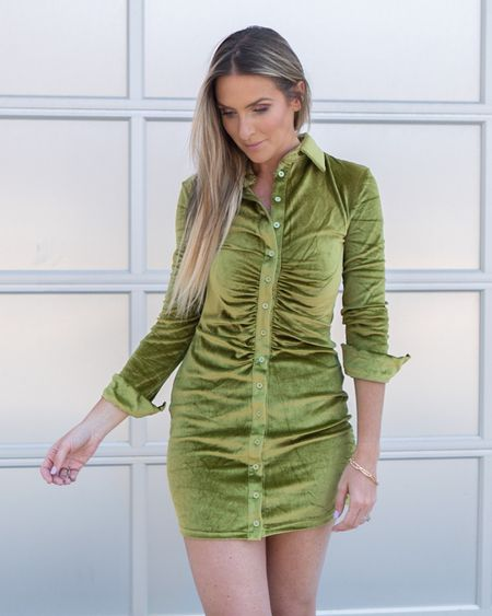 Ruched velvet dress and gold bracelets. Summer fashion. Amazon fashion. Amazon finds.   #LTKsalealert #LTKstyletip #LTKunder50