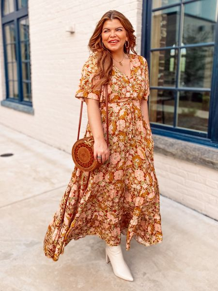 The most darling everyday dress that will take you anywhere you need to go. The gorgeous coloring and floral print are to die for. I'm in a US 8 and it's perfect! Very TTS!   I also linked the short version of this dress if that's more your thing.     #LTKcurves #LTKwedding #LTKunder100