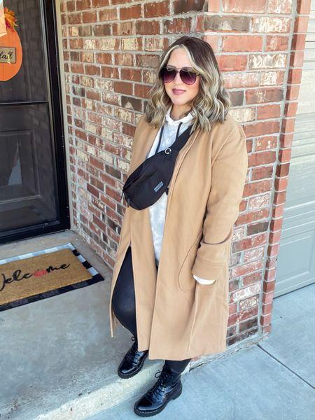 Coat size large Sweatshirt men's size xl  Leggings size large  Boots tts  #LTKstyletip #LTKcurves #LTKunder50