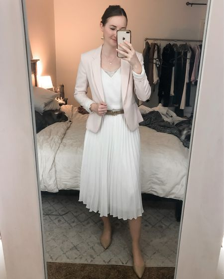 Business casual outfit, real estate agent, realtor outfit, workwear, wear to work, pink blazer, white midi skirt, tan patent flats  #LTKworkwear