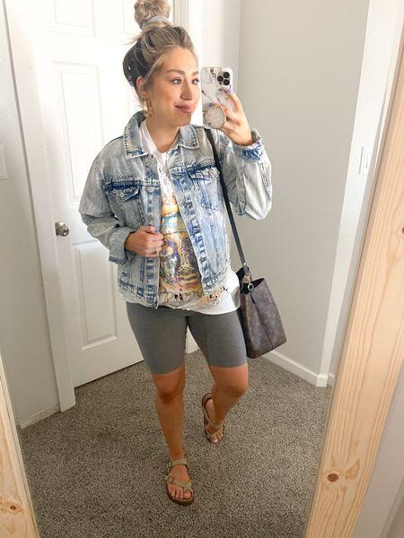 Casual Style + Biker Shorts + Oversized Tee + Denim Jacket + Scrunchies http://liketk.it/39Kos #liketkit @liketoknow.it #LTKSeasonal #LTKbaby #LTKunder50