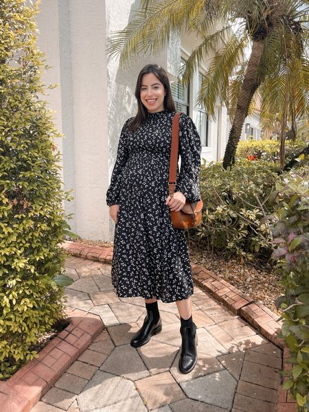 The best fall smocked black floral dress, chelsea boots and crossbody bag! Perfect for maternity and non-maternity. Dress is under $30, wearing a size XS       #LTKbump #LTKunder50 #LTKSeasonal