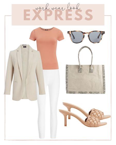 Summer work wear look: pair white pants with a neutral top and blazer. http://liketk.it/3hjcU #liketkit @liketoknow.it #LTKworkwear