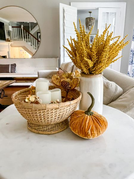 Fall home decor coffee table dining room decorations styled styling style velvet pumpkins neutral greenery stems natural modern minimal  #LTKhome #LTKSeasonal #LTKHoliday