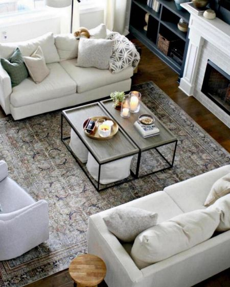 Our neutral, vintage living room area with a gorgeous rug! Love our neutral couch and decor!    http://liketk.it/3pect      @liketoknow.it #liketkit @liketoknow.it.home #StayHomeWithLTK #LTKhome #LTKunder100 living room decor, best rugs, best living room rugs, living room neutral decor, living room design.