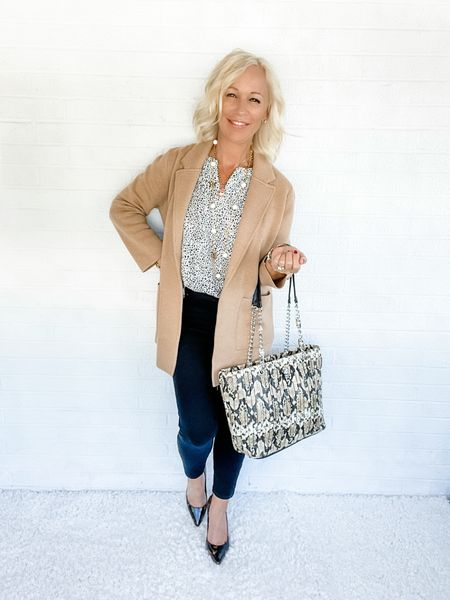 Blazer Look / Work Blazer / Workwear / Work Wear / Office Look / Office Outfit / Business Casual / Office Casual / Work Outfit / Tory Burch / Kate Spade /  Coach Handbags / Handbag /petite / over 40 / over 50 / over 60 / Fall Outfit / Fall Fashion     #LTKitbag #LTKSeasonal #LTKworkwear