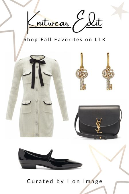 Parisian chic for autumn: Self-Portrait ribbed white knitted mini dress with long sleeves, chic crystal and pearl buttons and a black pussy-bow. Styled with Saint Laurent patent-leather flat Mary Janes, Kaia medium size cross-body bag with YSL-plaque and Gucci double G-logo key earrings with crystals 🤍  Knitted dress, mini dress, body-con dress, pearl buttons, crystal buttons,  white dress, Chanel style, feminine style, elegant style, fall fashion, autumn fashion, AW21 #LTKfashion #LTKeurope   #LTKshoecrush #LTKstyletip #LTKworkwear