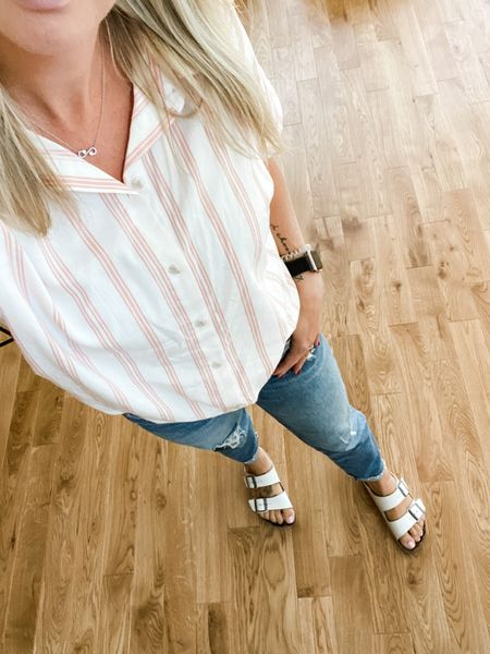 Add this top to your regular rotation! It's super comfortable and forgiving and will be a great layering piece come cooler weather, and it comes in tons of other colors and patterns! Also, these jeans. Still. Every day.   #transitional #jeans #kut #kutfromthekloth #straightleg #denim #fall #autumn #sandals #buttondown #momstyle #target   #LTKSeasonal #LTKstyletip #LTKunder100