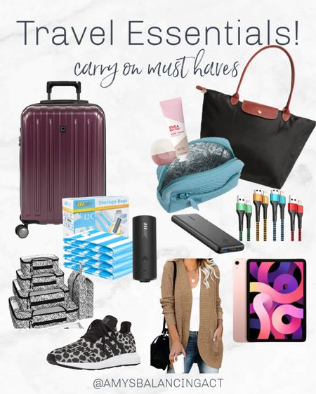 All of my must have carry on travel essentials! This carry on suit case is my favorite and fits everything I need with these vacuum packing bags or packing cubes! Any of these make the perfect gift for a travel lover.   #LTKtravel #LTKGiftGuide