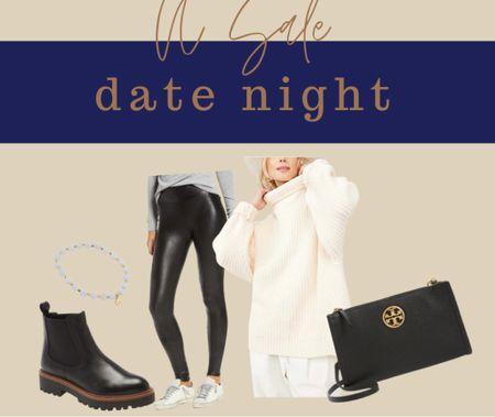 NSale Nordstrom  Date outfit Date night Faux leather leggings Short boots Tory Burch Oversize sweater  #LTKsalealert #LTKunder100 #LTKstyletip