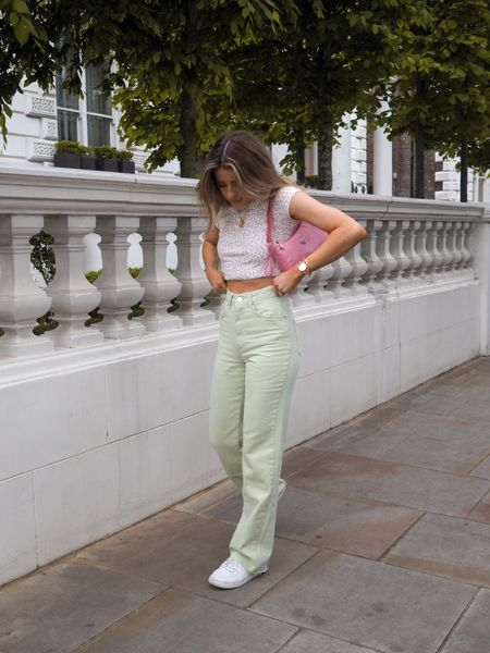 These green wide leg jeans are literally what my wardrobe needed this summer! I love them teamed with this cute floral tee and a pair of Air Force sneakers     #LTKeurope #LTKSeasonal