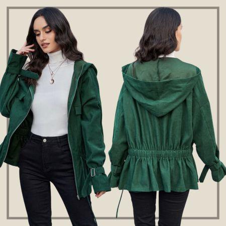 Zip up drawstring waist buckle jacket from Shein   #LTKstyletip #LTKunder50