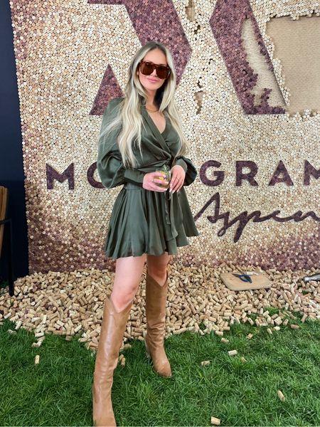 Perfect fall transitional look 🥂  #Cocktaildress #minidress #flowydresses #dresses #weddingguest #weddingguestdress #longsleevedress #boots #kneehighboot #falltrends #fallfashion #falllooks #heeledboots #Sunglasses #tortioussunglasses #guccisunglasses #zimmerman #designerdress   #LTKshoecrush #LTKstyletip #LTKSeasonal
