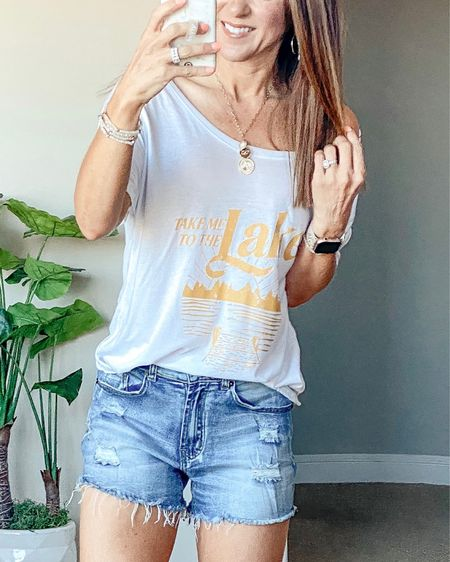 Take me to the lake off-the-shoulder tee and amazon shorts  size small in both.  Save 15% code JUNE15 on top  •summer style • summer outfit • summer fashion • amazon fashion • easy outfit • comfy style • casual • everyday outfit• outfit ideas • mom style • petite  • affordable outfit