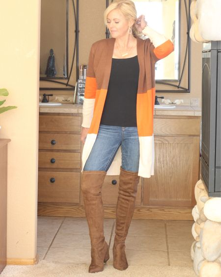 Fall outfit. Fall cardigan and over the knee boots. #Amazonfind  #LTKSeasonal #LTKunder50 #LTKstyletip