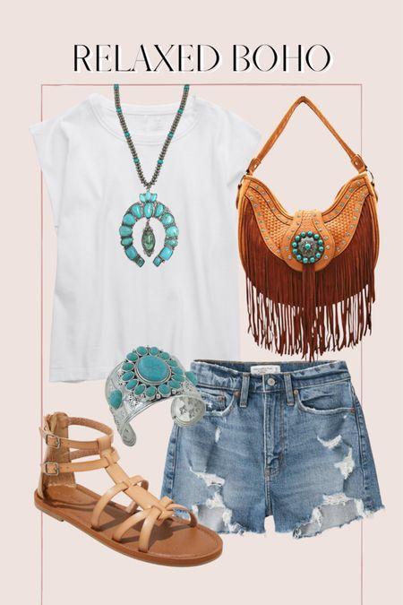 Casual relaxed boho outfit, summer outfit, turquoise jewelry, fringe bag, Abercrombie high waisted shorts, jean shorts, Amazon finds http://liketk.it/3ihlS @liketoknow.it #liketkit #LTKunder50 #LTKunder100