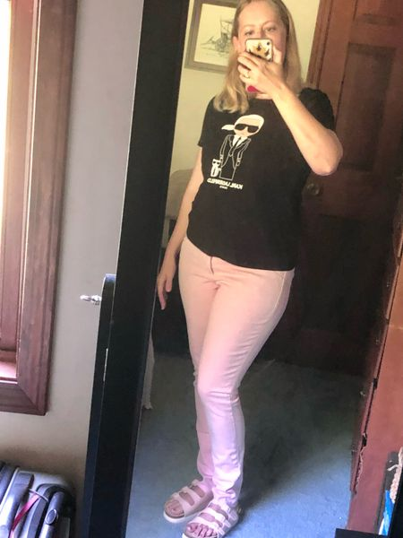 Pink can be a neutral, especially when the color is this pretty. Everyone says skinny jeans are over but I'm not ready to break up with them yet. This Universal Thread pair from Target fits me perfectly in a size 6. The high rise even helps hold in my mom tummy!  #LTKunder100 #LTKunder50 #LTKfit