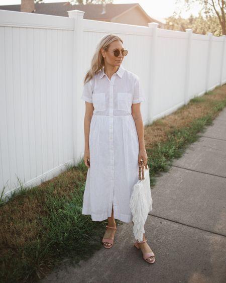 The prettiest white shirt dress from Walmart - size down.   #LTKSeasonal